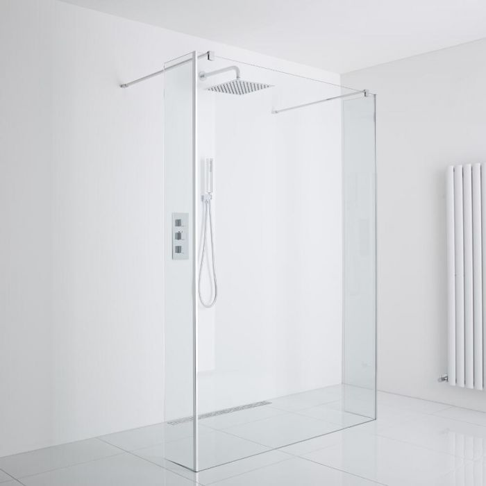 Milano Portland - Floating Wet-Room Shower Enclosure (1400mm Glass) - Choice of Drain