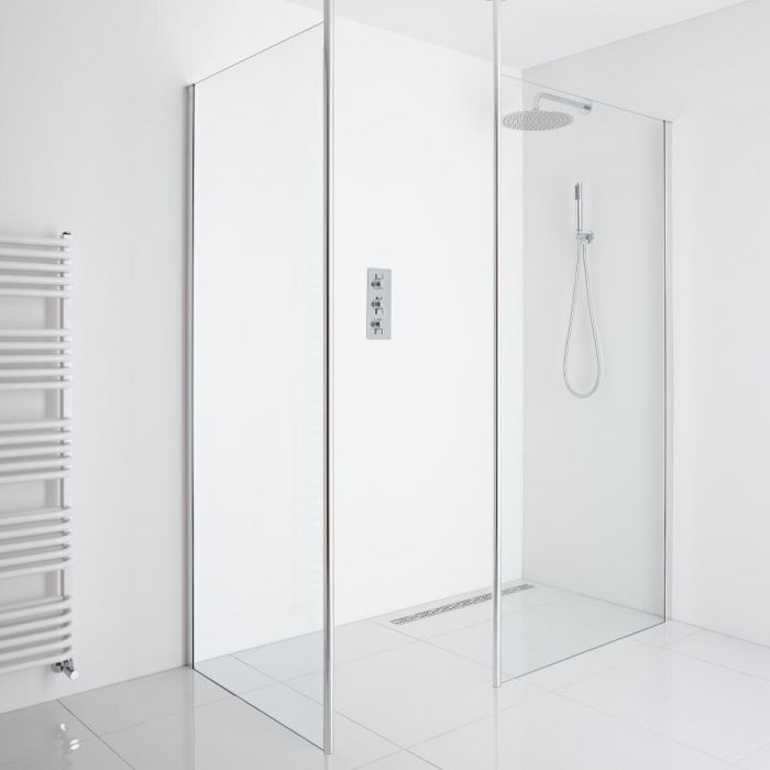 Milano Alto - Corner Wet Room Shower Enclosure (1000mm Glass) - Inc. Drain