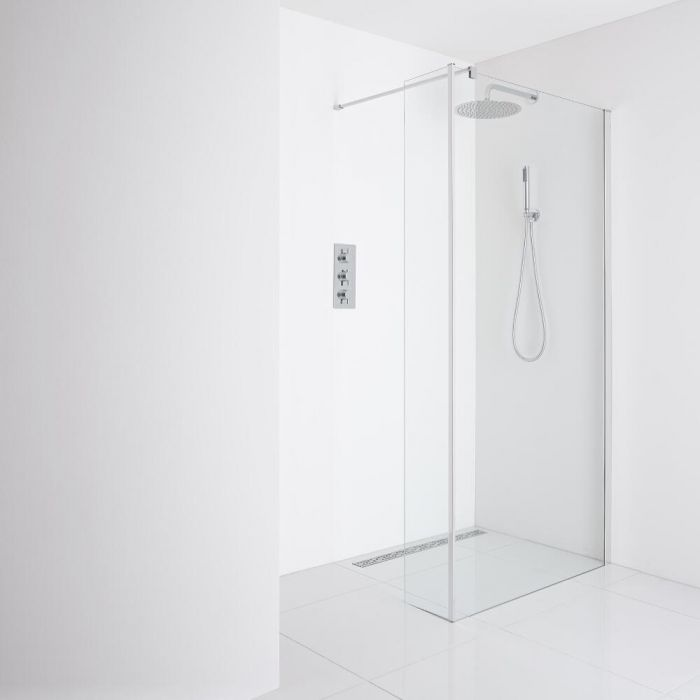 Milano Portland - Recessed Wet-Room Shower Enclosure (900mm Glass) - Return Panel - Choice of Drain
