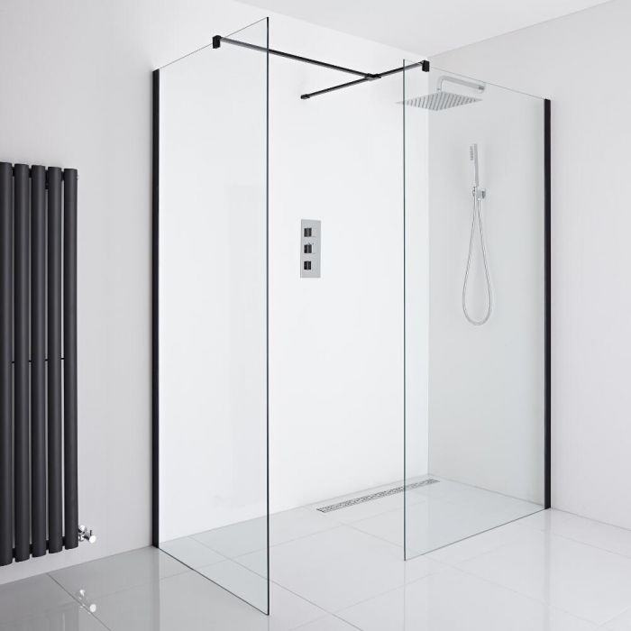 Milano Nero - Corner Wet-Room Shower Enclosure (900mm x 800mm Glass) - Inc. Drain