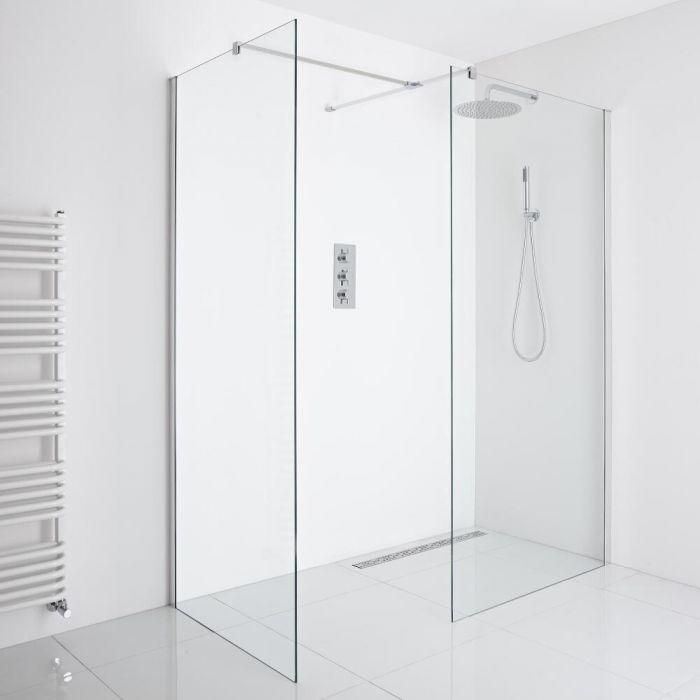 Milano Portland - Corner Wet-Room Shower Enclosure (900mm x 800mm Glass) - Inc. Drain