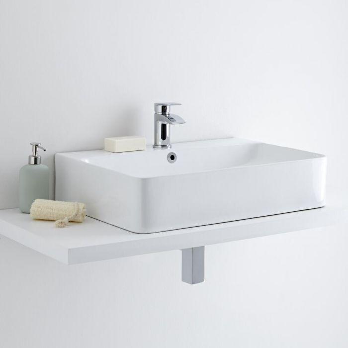 Milano Farington - White Modern Rectangular Countertop Basin with Mono Mixer Tap - 600mm x 420mm