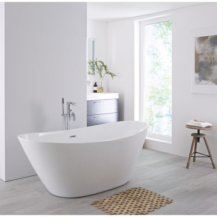 Milano Irwell - White Modern Oval Double-Ended Freestanding Bath - 1570mm x 785mm