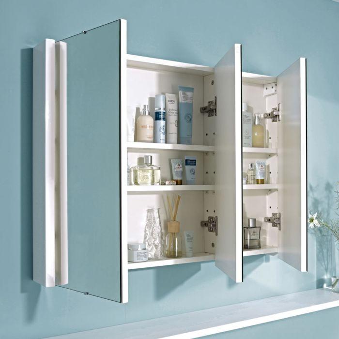 Milano Ren White Modern Mirrored Cabinet 900mm X 650mm