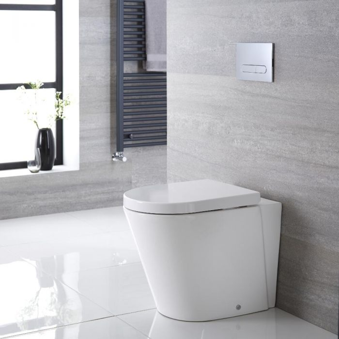 Milano Rivington - White Modern Round Back to Wall Toilet with Soft Close Seat