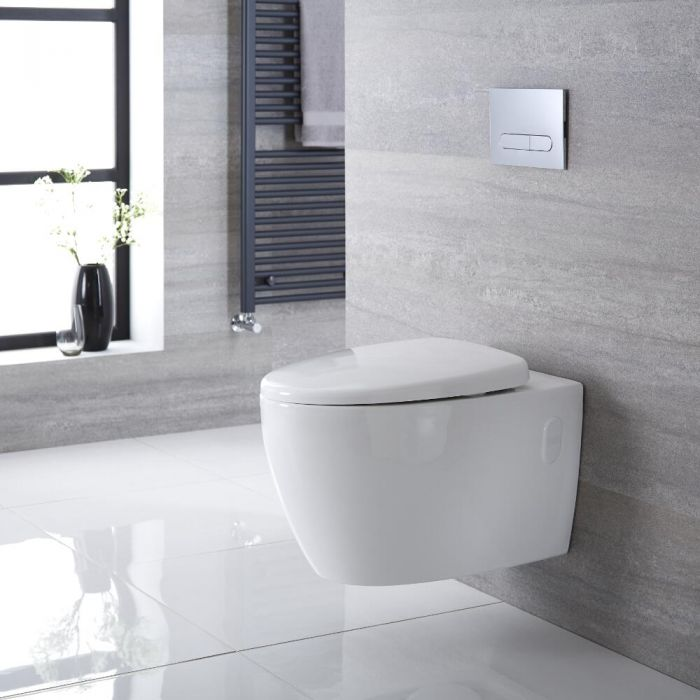 Milano Altham - White Modern Round Wall Hung Toilet with Soft Close Seat