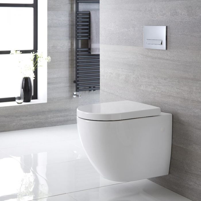 Milano Irwell - White Modern Round Wall Hung Toilet with Soft Close Seat