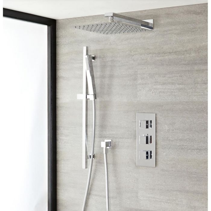 Milano Arvo - Modern Square Triple Thermostatic Shower Valve with 200mm Square Head and Slide Rail Kit - Chrome