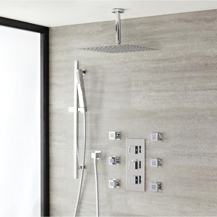 Milano Arvo - Chrome Thermostatic Shower with Diverter, Shower Head, Hand Shower, Body Jets and Riser Rail (3 Outlet)