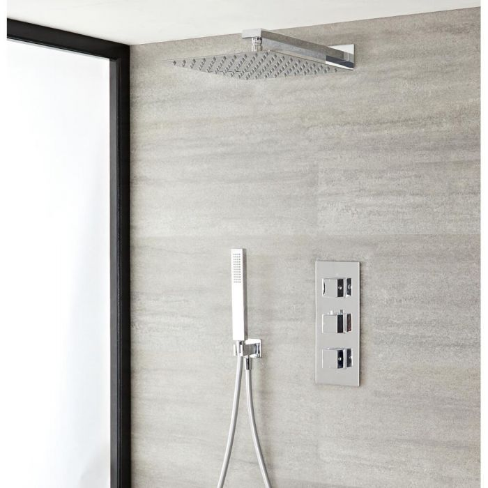 Milano Arvo - Modern Square Triple Diverter Thermostatic Valve, 400mm Shower Head and Hand Shower - Chrome