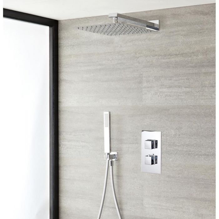 Milano Arvo - Modern Square Twin Diverter Thermostatic Valve, 300mm Shower Head and Hand Shower - Chrome
