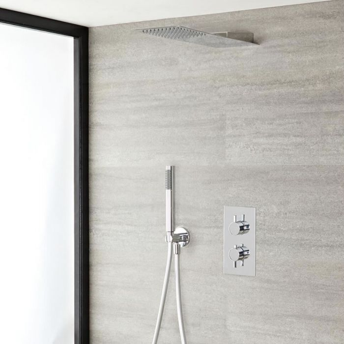 Milano Mirage - Modern Round Twin Diverter Thermostatic Shower Valve with Ultra-Thin Fixed Shower Head and Hand Shower - Chrome