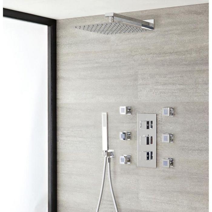 Milano Arvo - Modern Square Triple Diverter Thermostatic Valve, 400mm Shower Head, Hand Shower and Body Jets - Chrome