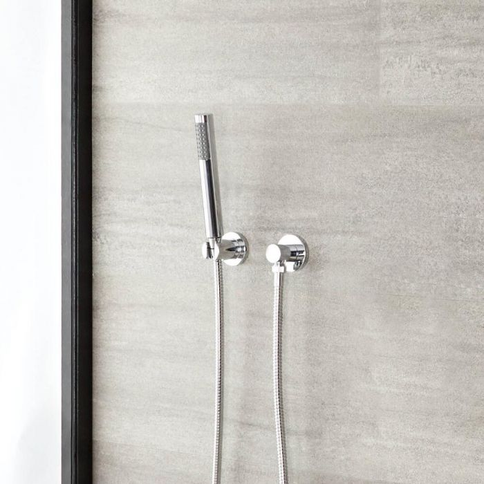 Milano Mirage - Modern Round Hand Shower with Wall Bracket and Outlet Elbow - Chrome