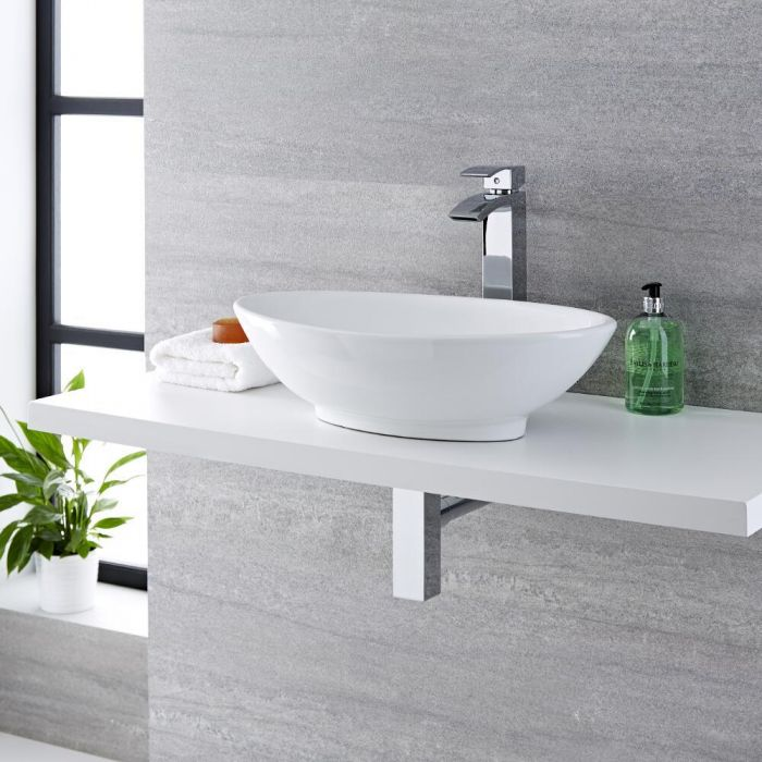 Milano Altham - White Modern Round Countertop Basin with High Rise Mixer Tap - 520mm x 320mm