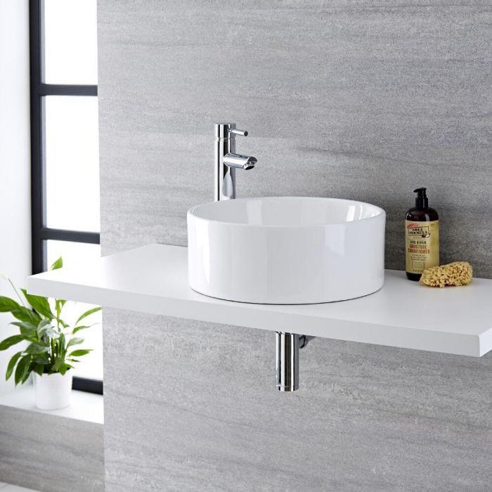 Milano Ballam - White Modern Round Countertop Basin - 400mm x 400mm (No Tap-Holes)