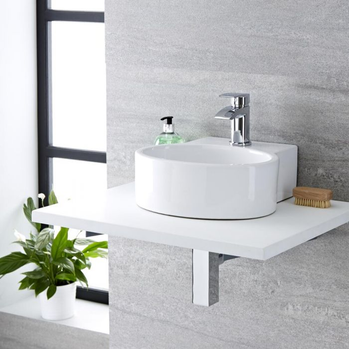 Milano Ballam - White Modern Oval Countertop Basin - 350mm x 340mm (1 Tap-Hole)