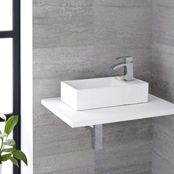 Milano Dalton - White Modern Rectangular Countertop Basin - 410mm x 220mm (1 Tap-Hole)