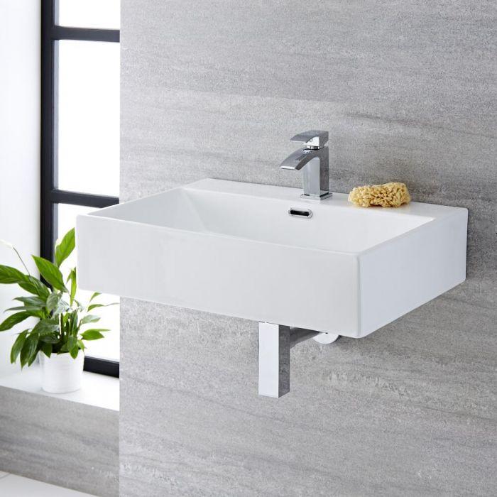 Milano Elswick - White Modern Rectangular Countertop Basin - 600mm x 420mm (1 Tap-Hole)