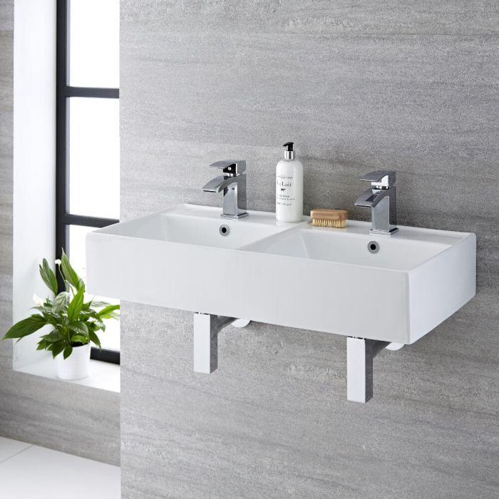Milano Dalton - White Modern Double Rectangular Wall Hung Basin - 820mm x 420mm (2 Tap-Holes)