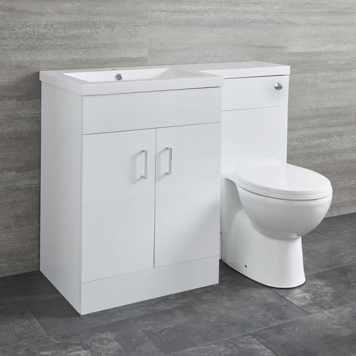 Milano Ren - White Left-Hand Combination Toilet and Basin Unit