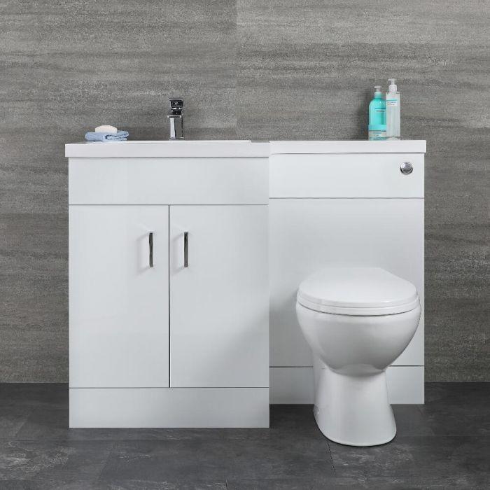 Milano Ren - White Left-Hand Combination Toilet and Basin Unit