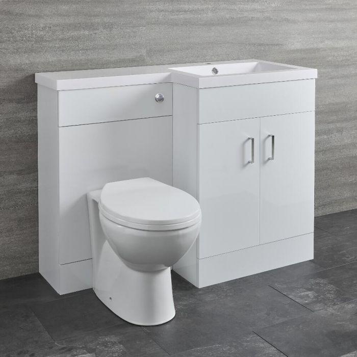 Milano Ren - White Right-Hand Combination Toilet and Basin Unit