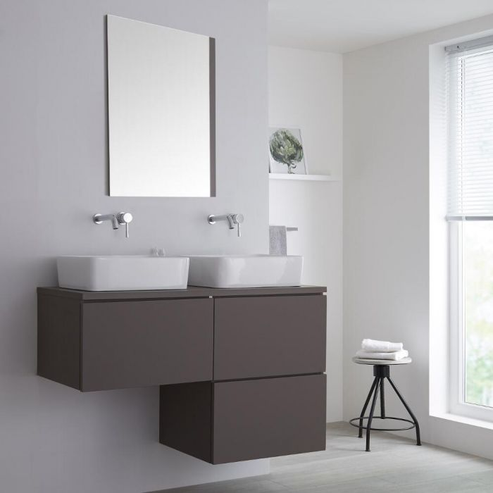 Milano Oxley - Grey L -Shape 1200mm Wall Hung Vanity Unit with 2 Countertop Basins