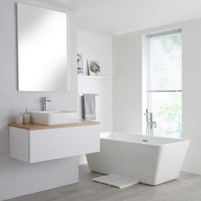 Milano Oxley - White and Golden Oak 1000mm Wall Hung Vanity Unit with Top and Countertop Basin