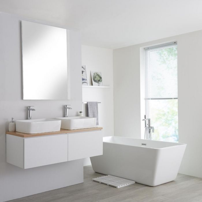 Milano Oxley - White and Golden Oak 1200mm Wall Hung Vanity Unit with Top and Countertop Basins
