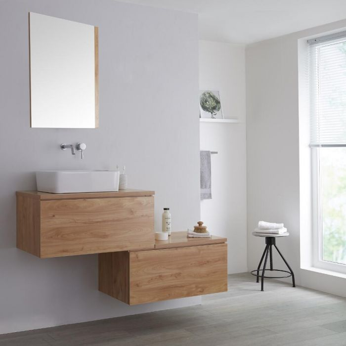 Milano Oxley - Golden Oak 1400mm Wall Hung Stepped Vanity Unit with Countertop Basin