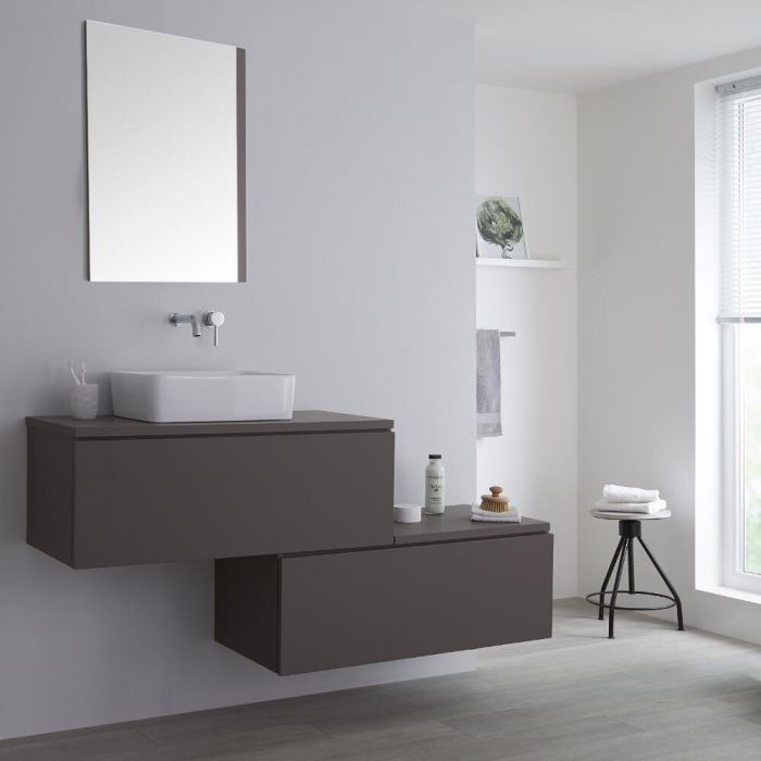 Milano Oxley - Grey 1600mm Wall Hung Stepped Vanity Unit with Countertop Basin