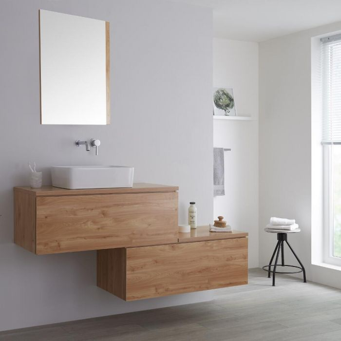 Milano Oxley - Golden Oak 1600mm Wall Hung Stepped Vanity Unit with Countertop Basin