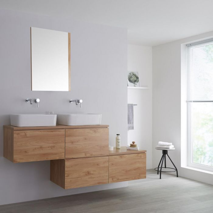 Milano Oxley - Oak 1800mm Wall Hung Stepped Vanity Unit with Countertop Basins