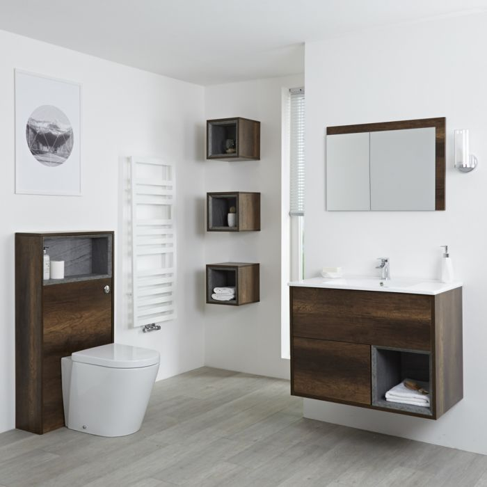 Milano Bexley - Dark Oak Modern 800mm Vanity Unit, WC Unit, Pan, Three Storage Units and Mirror