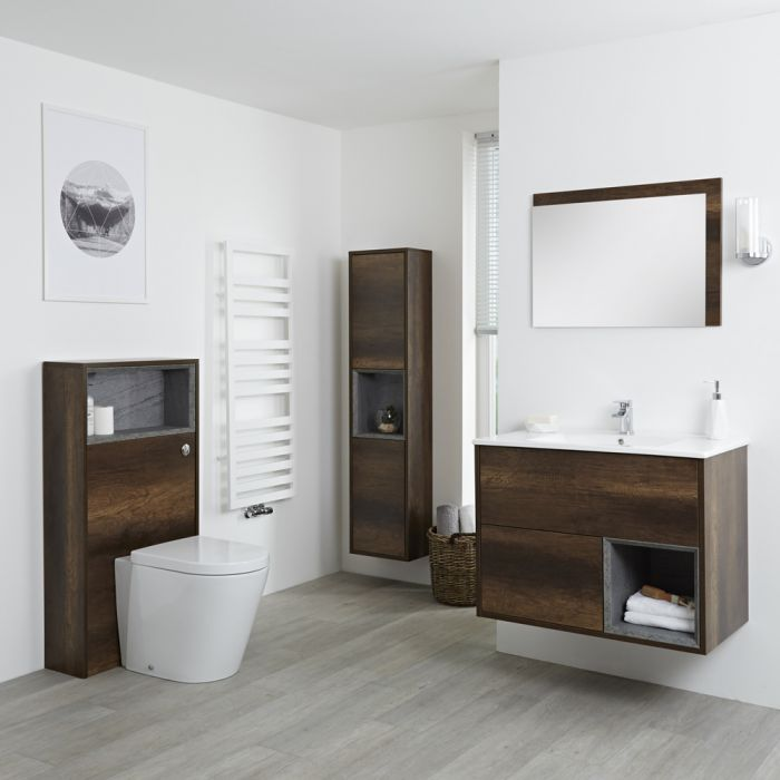Milano Bexley - Dark Oak Modern 800mm Vanity Unit, WC Unit, Pan, 1500mm Storage Unit and Mirror
