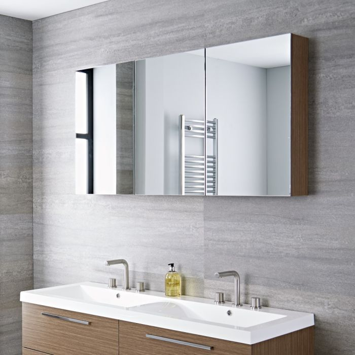 Milano Linley - Oak Modern 3 Door Wall Hung Mirrored Cabinet - 1350mm x 700mm
