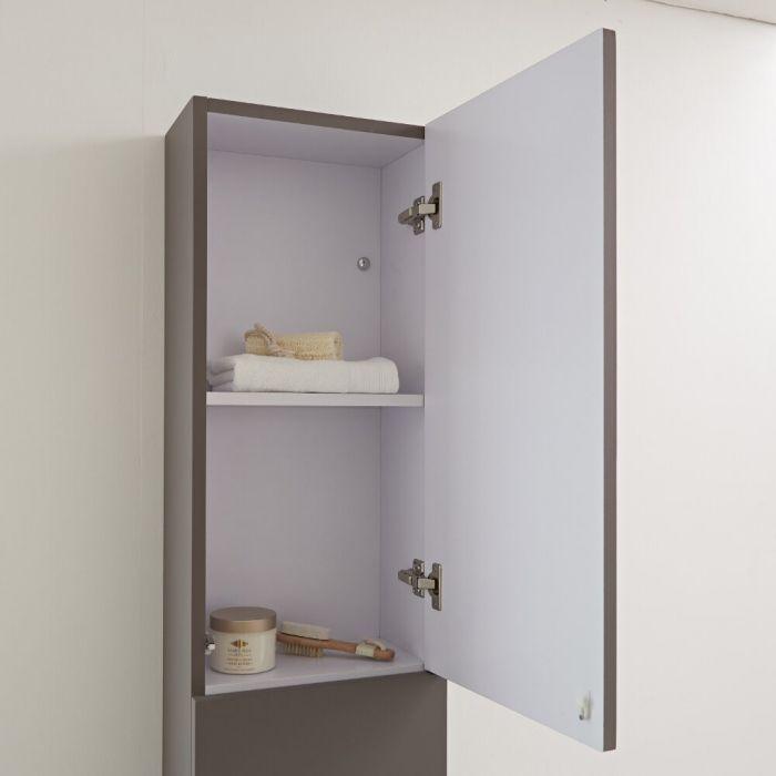 Milano Oxley - Grey Modern Wall Hung Closed Storage Unit - 350mm x 1500mm
