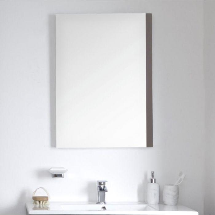 Milano Oxley - Grey Modern Wall Hung Mirror - 700mm x 500mm