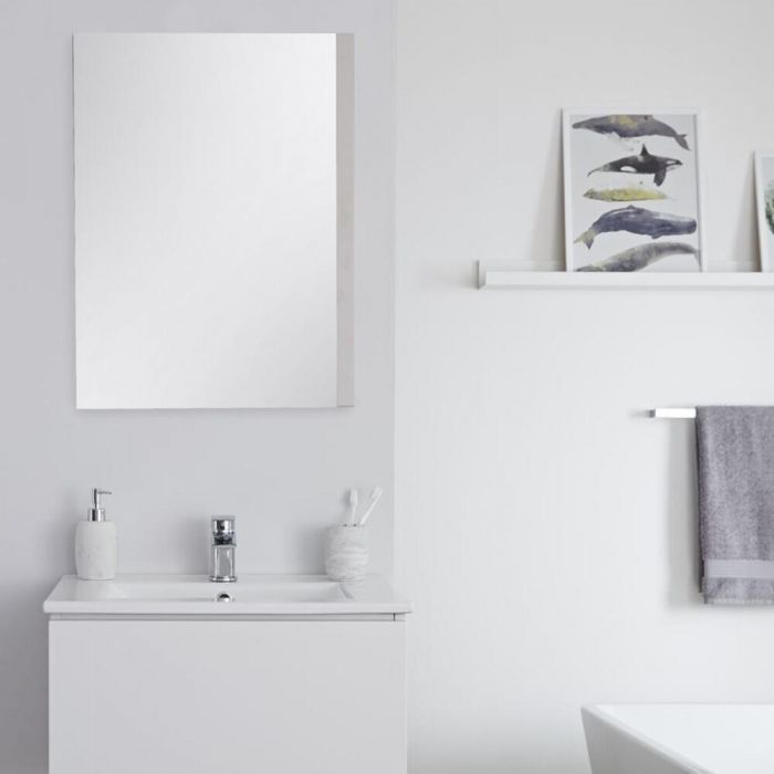 Milano Oxley - White Modern Wall Hung Mirror - 700mm x 500mm