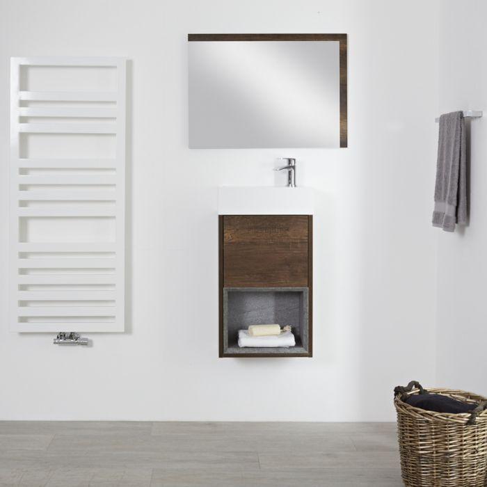 Milano Bexley - Dark Oak 400mm Wall Hung Open Shelf Cloakroom Vanity Unit with Countertop Basin