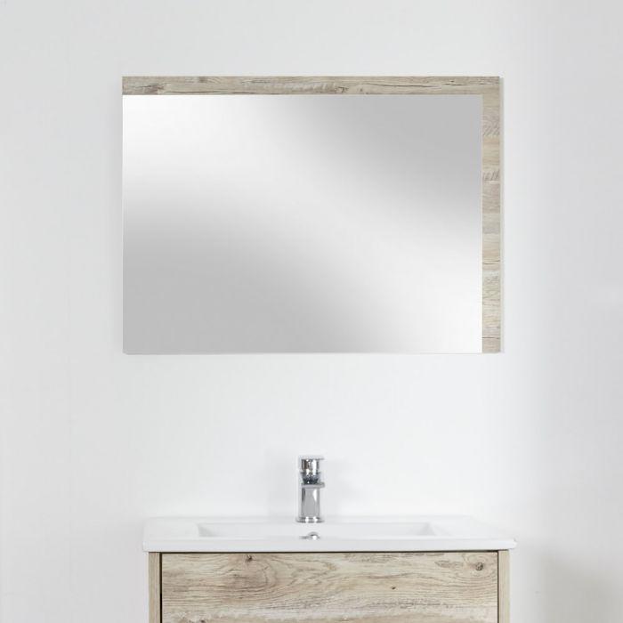 Milano Bexley - Light Oak Modern Wall Hung Mirror - 700mm x 500mm