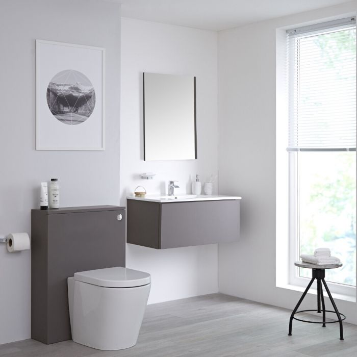 Milano Oxley - Grey 800mm Vanity Unit with Basin, WC Unit, Back to Wall Pan