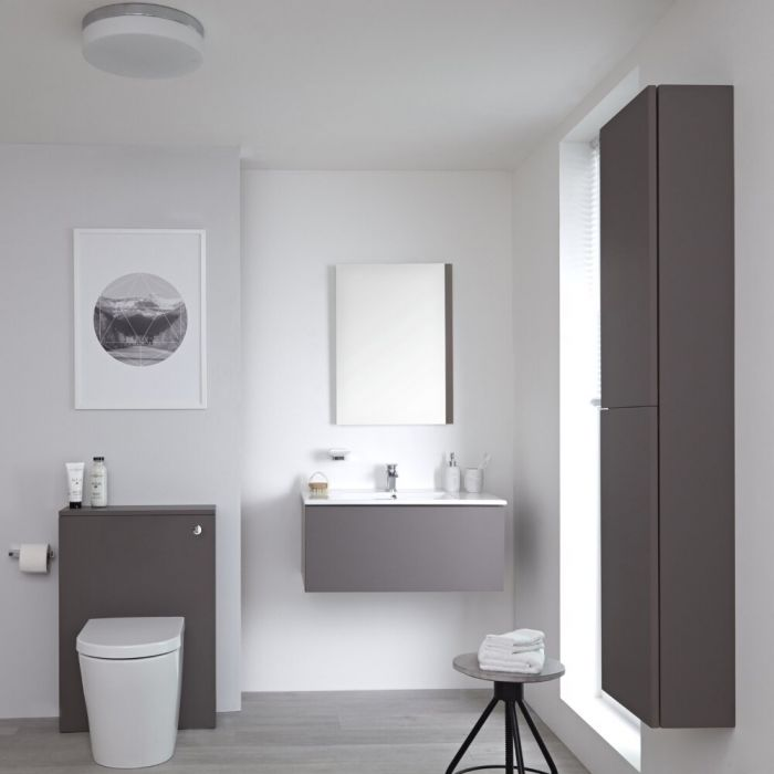 Milano Oxley - Grey 800mm Vanity Unit with Basin, WC Unit, Back to Wall Pan, Storage Unit and Mirror
