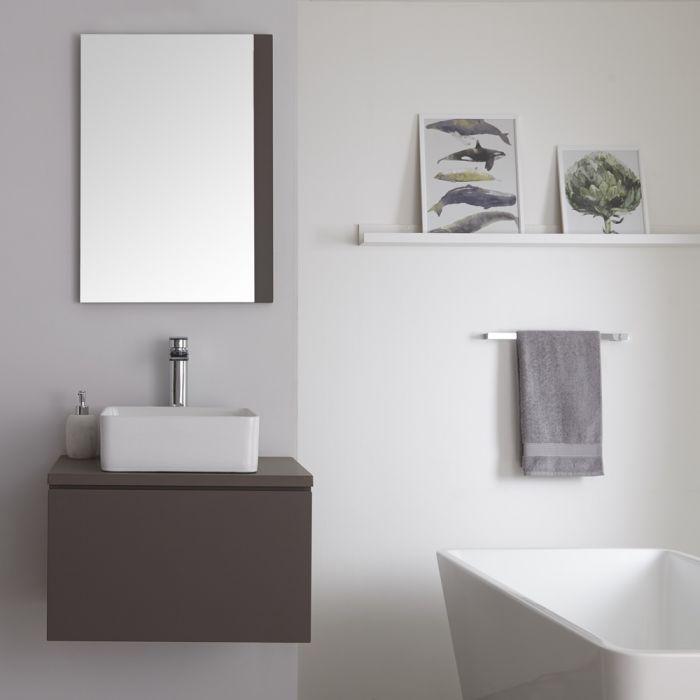 Milano Oxley - Grey 600mm Wall Hung Vanity Unit with Square Countertop Basin