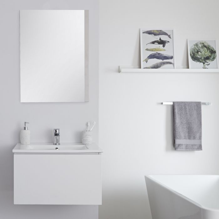 Milano Oxley - White 600mm Wall Hung Vanity Unit with Basin