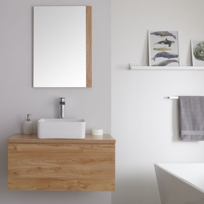 Milano Oxley - Golden Oak 800mm Wall Hung Vanity Unit with Countertop Basin