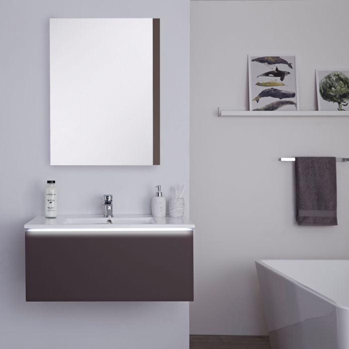 Milano Oxley - Grey 800mm Wall Hung Vanity Unit with Basin