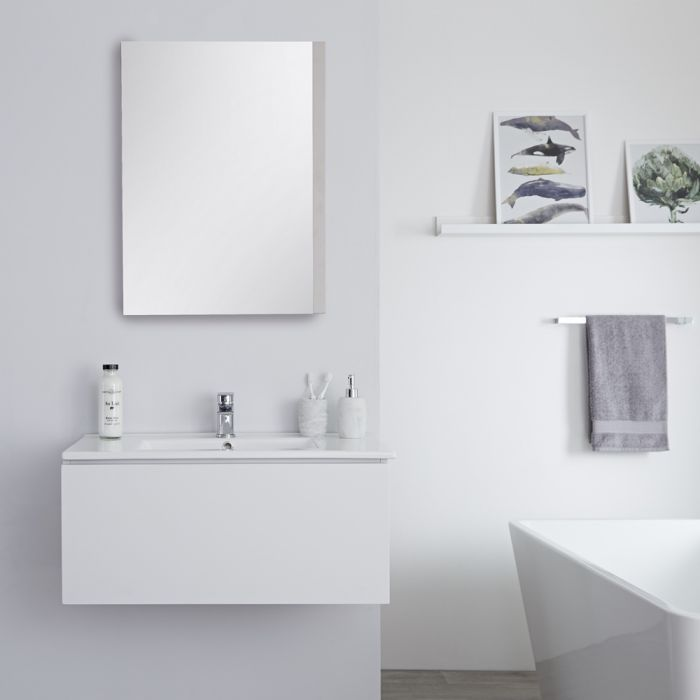 Milano Oxley - White 800mm Wall Hung Vanity Unit with Basin