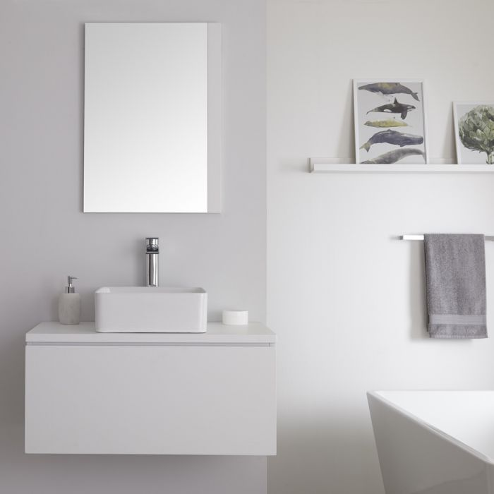 Milano Oxley - White 800mm Wall Hung Vanity Unit with Countertop Basin